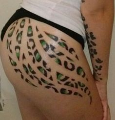Cheetah print on butt/thigh tattoo. Dif color wanted though