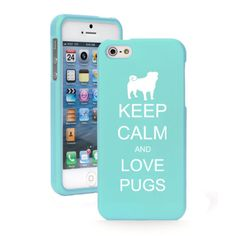 For Apple iPhone 6/6 Plus Rubber Hard 2 Piece Case Cover Keep Calm Love Pugs