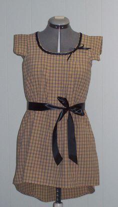 Refashioned Mens Shirt - Beige Ladies Shirt - Dress -Womens Upcycled Clothing -Sz S-M. $65.00, via Etsy.