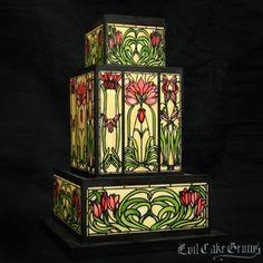 Stained Glass Art Nouveau Tulip Vertical Mesh Stencil