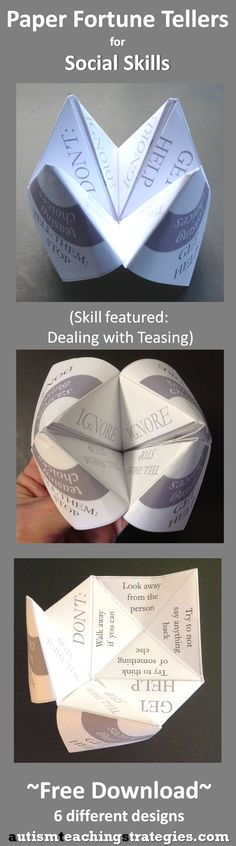 """This is one of six paper """"fortune tellers"""" on various social skills themes."""