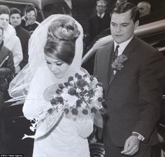 Marriage: Frances Kray and her brother Frankie Shea at her wedding in a photograph taken by David Bailey