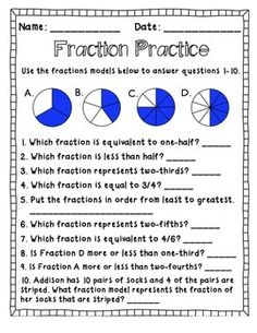 Fractions Fun Pack - Includes 20 game cards, a game board, answer sheet for students and answer key for you. Bonus: 2 page worksheet for assessment, homework, morning work, etc.