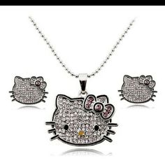 Hello kitty necklace with earrings Crystal necklace with earrings.  Necklace about 10 onch. Crystal jewelry Jewelry Necklaces
