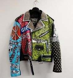 Punk Studded Leather Jacket Original hand painted one-off made in New Zealand Painted Leather Jacket, Studded Leather Jacket, Punk Jackets, Battle Jacket, Painted Clothes, Painting Leather, Punk Fashion, Courses, Jeans