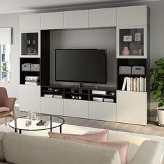 Tv Storage Combination Ikea Besta Tv Unit Ideas Living Room Tv Unit, Ikea Living Room, Living Room Storage, Living Rooms, Ikea Tv Wall Unit, Tv Ikea, Wall Units, Tv Storage, Modern Spaces