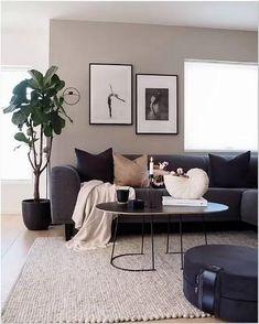 Decor Home Living Room, Interior Design Living Room, Living Room Designs, Living Room Decor Dark Furniture, Charcoal Sofa Living Room, Living Room Colour Design, Grey Couch Decor, Front Room Decor, Small Space Living Room