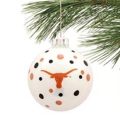 Texas Longhorns Polka Dot Ball Ornament  - Burnt Orange/Black - $5.95