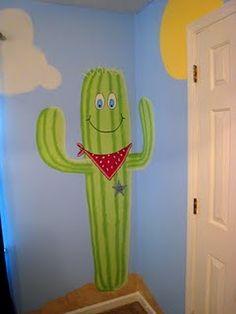 "Cactus ""Sheriff Noah"" mural for cowboy nursery."