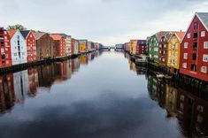Picturesque houses view from the Gamle Bybro Old Town Bridge in the center of Trondheim House Viewing, Trondheim, Bergen, Rafting, Old Town, Vintage Designs, Stock Photos, Bridge, Houses