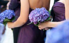 Purple hydrangea bridesmaid bouquet for Summer wedding