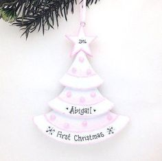 Pink Christmas Tree Personalized Christmas Ornament /