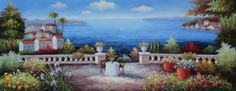 Romantic Landscapes of the Mediterranean Mediterranean Naturalism Oil Painting  28 x 70 inches  :)