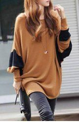 $7.86 Loose-Fitting Style Bat-Wing Sleeves Scoop Neck Color Block T-shirt For Women