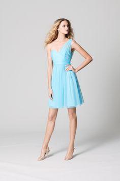 One Shoulder Short Aqua Bridesmaid Dress