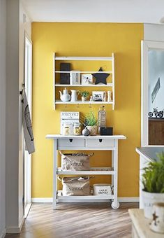 Gold Home Accents Apartment Therapy is part of Allmodern Sale Shop Gold Accent Furniture Apartment Therapy - Yellow kitchen accent wall via sadecor Yellow Kitchen Inspiration Remodelaholic Yellow Kitchen Accents, Yellow Kitchen Walls, Yellow Accent Walls, Accent Wall In Kitchen, Accent Wall Colors, Turquoise Kitchen, Kitchen Colors, Yellow Kitchens, Yellow Accents