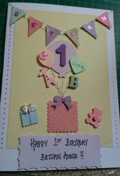Handmade 1st birthday card