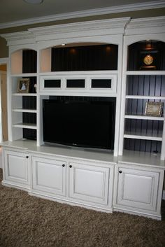 Entertainment Centers...love the beadboard in the back