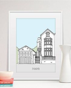 """The perfect, unique house warming, birthday or anniversary gift! A simplified pen and ink illustration of your home is overlaid with crisp natural colour highlights and personalised with your choice of text (three fonts available). Product Details • Unframed A4 (8""""x12"""") or A5 (6""""x8"""")"""