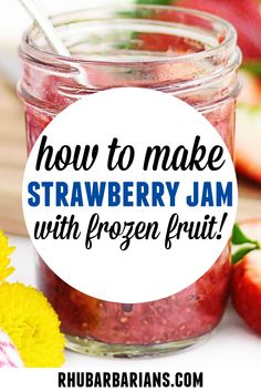 How to make strawberry jam with frozen fruit! This is my go to easy recipe for 3 ingredient strawberry chia jam! A healthy, vegan, and refined sugar free homemade small batch chia jam made with frozen strawberries or fresh strawberries. Click over to see how I freeze it! // Rhubarbarians // Frozen Fruit, Frozen Strawberries, Recipe For Mom, Recipe Using, Chia Jam Recipe, Strawberry Chia Jam, Farmers Market Recipes, Fruit In Season, Plant Based Recipes