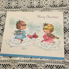 Vintage #greeting card #christmas #angels #angel bird clouds,  View more on the LINK: http://www.zeppy.io/product/gb/2/201698151456/