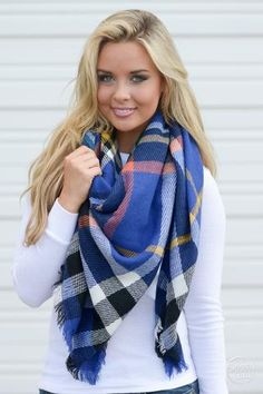 """**Use code """"REPLAUREN"""" for 10% off + Free Shipping!!!!**  Precious Heart Plaid Blanket Scarf - Blue"""