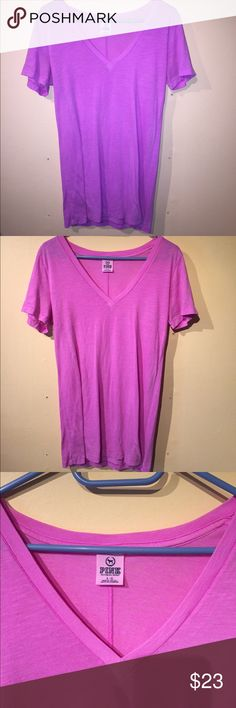 PINK Victoria's Secret neon tshirt PINK Victoria secret V-neck bright purple t-shirt - some pilling throughout - see last pic PINK Victoria's Secret Tops Tees - Short Sleeve