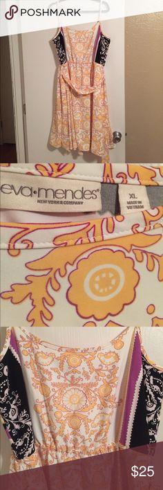 Eva Mendez for New York & Company Dress Dress hits at the knee. Very rich fabric. Sash around the waist. New York & Company Dresses Midi