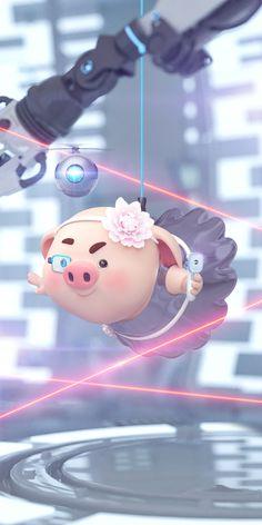 Cute Rabbit Images, Pig Girl, Pig Wallpaper, Pig Drawing, Pig Illustration, Cute Piggies, Little Pigs, Cute Cartoon Wallpapers, Anime Art Girl