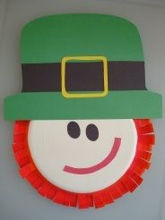 preschool craft, leprechaun made from a paper plate