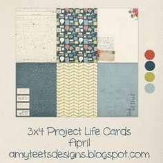 Amy Teets 'Diseños: abril gratuito Life Project Tarjetas digital y para imprimir