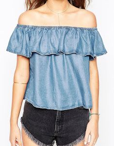 Image 3 of New Look Frill Off Shoulder Denim Top Diy Fashion, Fashion Online, Fashion Outfits, Diy Clothing, Sewing Clothes, Denim Top, Couture, Diy Shirt, Off Shoulder Blouse