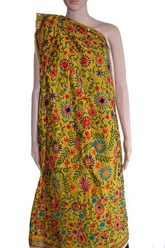 A beautiful #dupatta in Yellow #Chanderi #Fabric with colourful #handembroidery. Could not be more apt for that different look. (Fabrics of #India - www.facebook.com/fabricsofindia2013) Price: USD 42