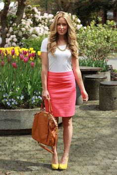 Peachy pink pencil skirt tan leather bag simple white T and yellow pumps