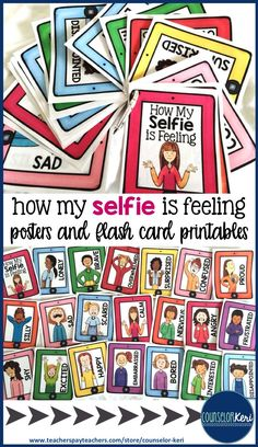 How my selfie is feeling posters and flash cards for elementary school counseling! -Counselor Keri