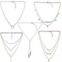 5 PCS Long Lariat Y Chain Necklace Set Simple Bohemia... - #NecklacesPendants  (source: jewelrysight.com)