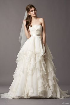 watters wedding dresses fall 2013 brooke strapless ball gown tiered skirt