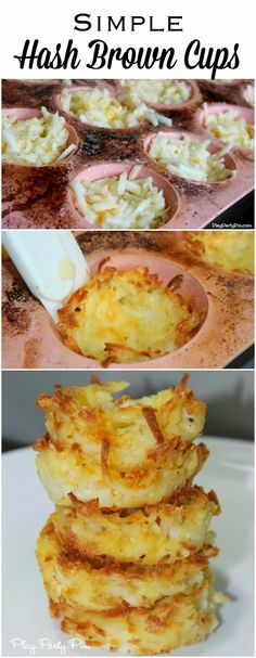 Simple Hash Brown Cups - make in just a few minutes and fill with anything you want (chili, bacon and cheese, etc.).