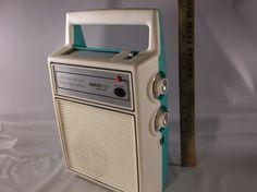 Vintage Electrobrand  Portable Turquoise And White by retroricks