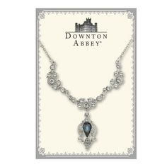Downton Abbey® Montana Sapphire Blue & White Diamond-like Jewel Silver Tone Drop Collar Necklace 1928 Jewelry $38.00