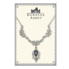 Downton Abbey® Montana Sapphire Blue & White Diamond-like Jewel Silver Tone Drop Collar Necklace 1928 Jewelry $38.00