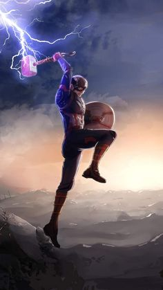 Captain America Fighting Thanos with Mjolnir iPhone Wallpaper - Marvel Universe Marvel Dc Comics, Marvel Avengers, Thanos Marvel, Marvel Fanart, Marvel Comic Universe, Marvel Films, Marvel Memes, Marvel Characters, Marvel Cinematic