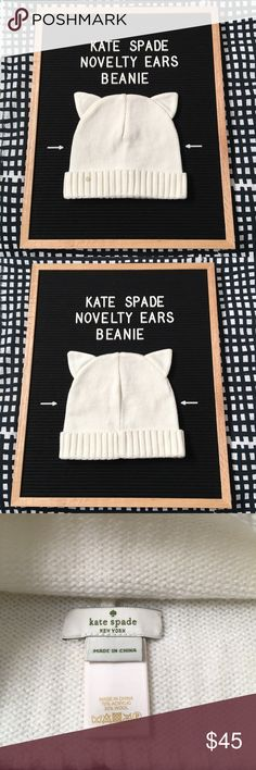 🎉CCO Sale🎉 Cream Kate Spade Cat Ear Beanie Kate Spade novelty cat ear beanie. This is so cute and perfect for winter! It is in excellent, like new condition. 70% acrylic 30% wool. One size fits most. 🐱 kate spade Accessories Hats