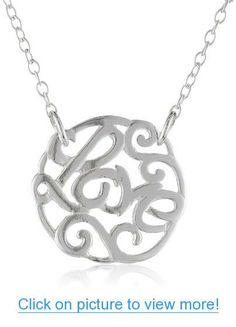 Sterling Silver 'Love' Filigree Pendant Necklace, 18