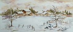 Snowy Village ©Xueling Zou; home decor, wall art, gift, greeting cards, posters, prints, original, corporate art, $6.00, for sale, landscape, snow, twilight, village, winter, silent night, christmas, barn, watercolor, watercolour, country, scene, scenery, snowdrift, snowfall, farm, farmers, home, peaceful, tradition