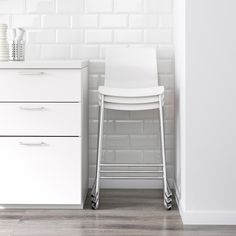 GLENN Bar stool, white, chrome plated, 30 The stool can be stacked, so you can keep several on hand and store them in the same space as one. White Bar Stools, White Stool, Used Chairs, Bar Chairs, Kitchen Chairs, Ikea Bar, Bar Stools For Sale, Gold Bar Cart, Toddler Table And Chairs