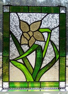 Stained glass panel daffodil flower bevels by AcornArtsStudio