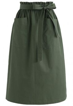 Better in Time A-Line Pockets Skirt in Army Green