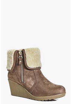 Laura Wedge Shearling Cuff Boot