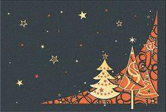 #Weihnachtskarte grau/orange,  mit filigraner #Laserstanzung #Weihnachtswald, inkl. Kuvert.